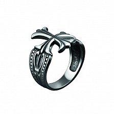 Байкерское кольцо Византия из серебра с узорами на шинке и чернением