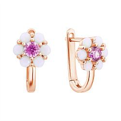 Золотые сережки Нежная ромашка с розовым фианитом и синтезированными белыми опалами
