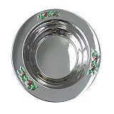 Серебряная тарелка Божьи коровки с эмалью