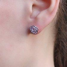 Серебряные серьги-пуссеты Розочки с эмалью