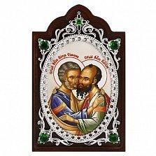 Серебряная икона на дереве Апостолы Петр и Павел
