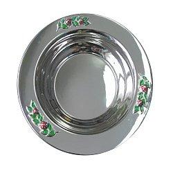 Серебряная тарелка Божьи коровки с эмалью 000043537