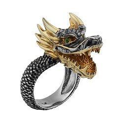 Серебряное кольцо с демантоидом Дракон 000033331