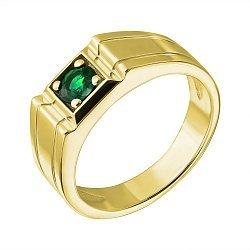 Золотой перстень в жёлтом цвете с изумрудом Авалон