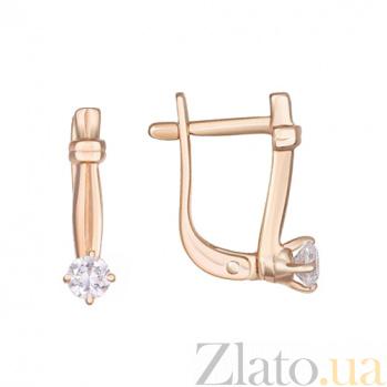 Золотые серьги с фианитами Римини 000023067