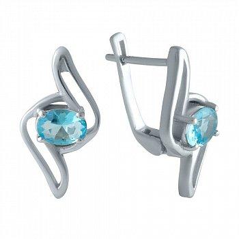 Серебряные серьги с синтезированными аквамаринами и родированием 000128344