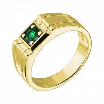 Золотий перстень в жовтому кольорі зі смарагдом 000021255