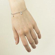 Серебряный браслет Ода любви с подвесками и завальцованными белыми фианитами