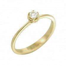 Кольцо из желтого золота Леда с бриллиантом
