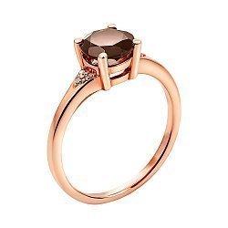 Кольцо из красного золота с раухтопазом и фианитами 000137367