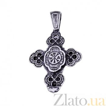 Серебряный крест с чернением Небесный ангел ONX--13603