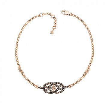 Браслет в комбинированном цвете золота с коньячными бриллиантами и родированием 000131501