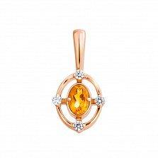 Кулон из красного золота с цитрином и фианитами 000131523