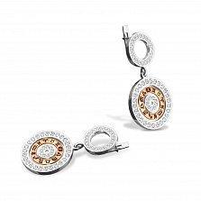 Серебряные серьги Зодиак в стиле Bulgari с золотыми вставками и фианитами