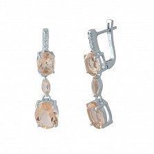 Серебряные серьги-подвески Юни с нано морганитами и белыми фианитами