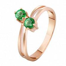 Золотое кольцо с изумрудами Тет-а-тет