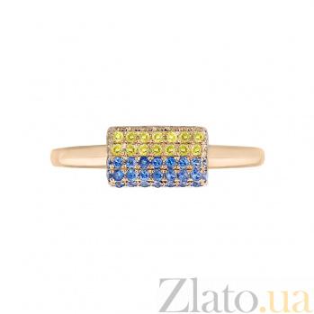 Золотое кольцо с сапфирами Флаг Украины 1К759-0218