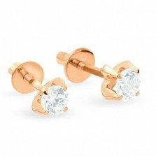 Золотые сережки-пуссеты с фианитами Маназиль