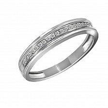Золотое обручальное кольцо Торжество в белом цвете с бриллиантами