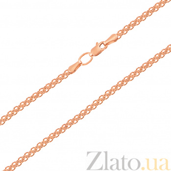 Золотая цепочка Малазия в красном цвете в плетении двойной якорь 66924/2