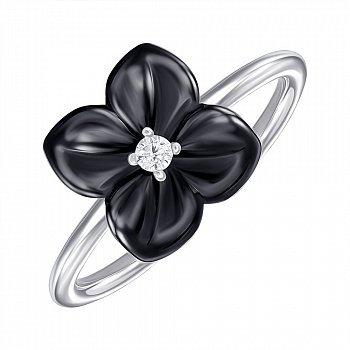 Срібне кільце з керамікою і фіанітом 000147839