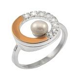 Серебряное кольцо с золотой вставкой, жемчугом и фианитами Идиллия