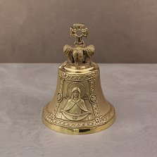 Бронзовый колокольчик Покров Пресвятой Богородицы с ликом и молитвой