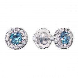 Серебряные серьги-пуссеты Солнышко с голубыми топазами и цирконием, 6мм