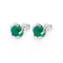 Серебряные серьги-пуссеты Подарок с зелеными агатами