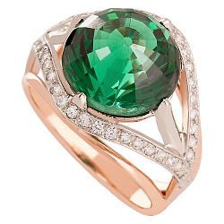 Золотое кольцо Армель с синтезированным аметистом и фианитами  000018530