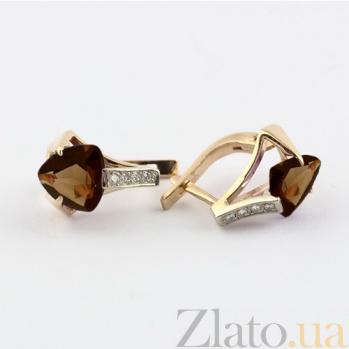Золотые серьги с раухтопазом и фианитами Шакира 000024374
