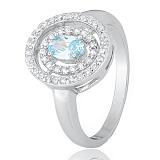 Серебряное кольцо Артемисия с голубым фианитом