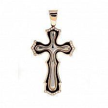 Крест из комбинированного золота с фианитами Духовный щит
