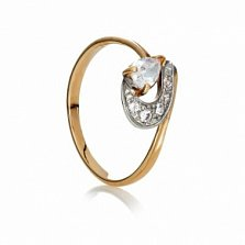 Золотое кольцо с фианитами Агата