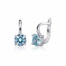 Серебряные серьги Мелита с фианитами цвета голубого топаза