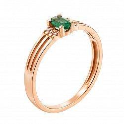 Золотое кольцо Марсела в красном цвете с изумрудом и бриллиантами