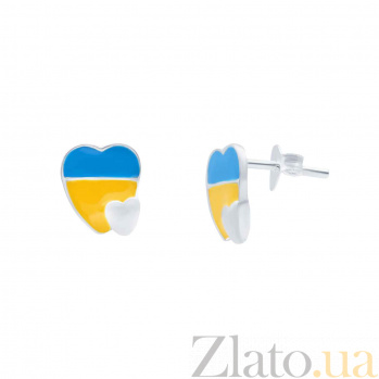 Серебряные серьги с эмалью Люблю Украину  AQA--124570010