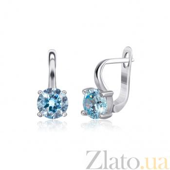 Серебряные серьги Мелита с фианитами цвета голубого топаза 000024594