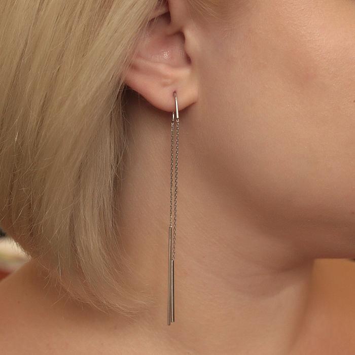 Серебряные серьги-подвески Арка с цепочками 000080841