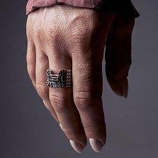 Кольцо из серебра Pull с золотой вставкой и чернением