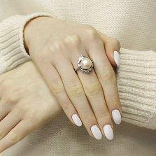 Серебряное кольцо Морское сокровище с узорами, белыми жемчугом и цирконием