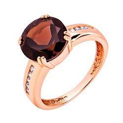 Кольцо в красном золоте с раухтопазом и фианитами 000117165