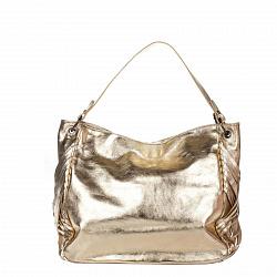 Кожаная сумка на каждый день Genuine Leather 8819 золотистого цвета на молнии