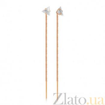 Золотые серьги-цепочки с цирконием Триллион Тамани EDM--С01ТР