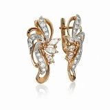 Золотые серьги с цирконием Настурция