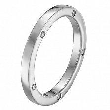 Обручальное кольцо Мир в белом золоте с фианитами