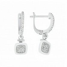 Серебряные серьги-подвески Урсула с белой керамикой, дорожками и фианитами
