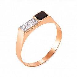 Золотой перстень-печатка Джонатан в комбинированном цвете с черным ониксом и фианитами
