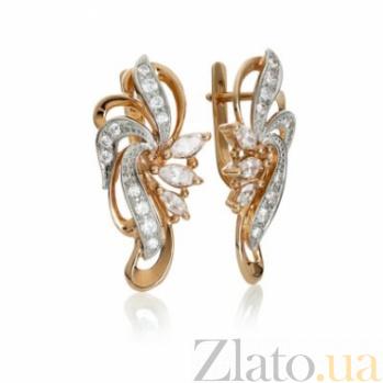 Золотые серьги с цирконием Настурция 000030640