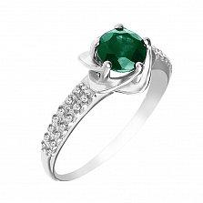 Серебряное кольцо Небесный цветочек с изумрудом и фианитами